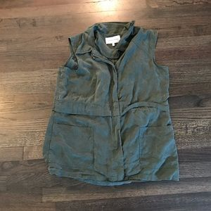 Cupcakes and Cashmere Green Utility Army Vest L